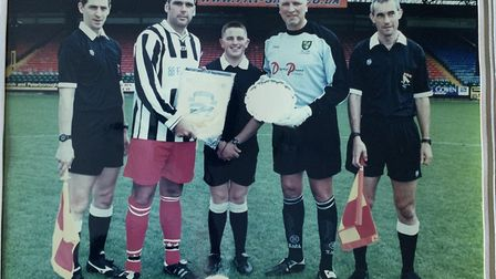 Proud moment as Spud Thornhill takes charge of the centenary game ... as promised Picture: Roger Har