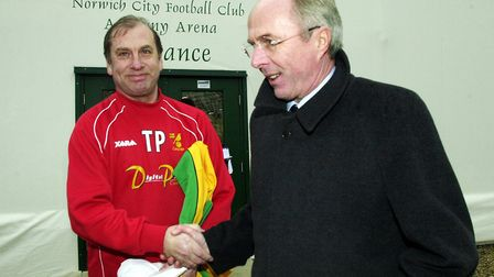 Terry Postle meeting then England manager Sven-Goran Eriksson at Colney Picture: Archant