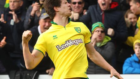 Timm Klose broke Ipswich hearts with a dramatic stoppage time equaliser at Carrow Road Picture: Paul