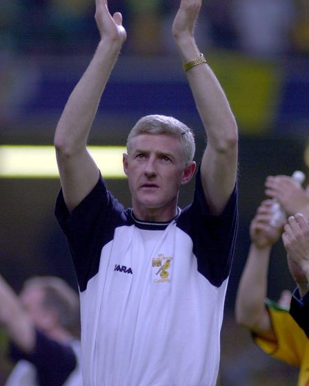 Nigel Worthington applauding City fans at the play-off final in 2002 Picture: Archant