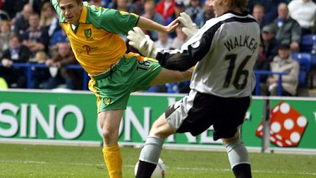 Paul McVeigh has a shot stopped by Leicester keeper Ian Walker in April 2003 Picture: Archant