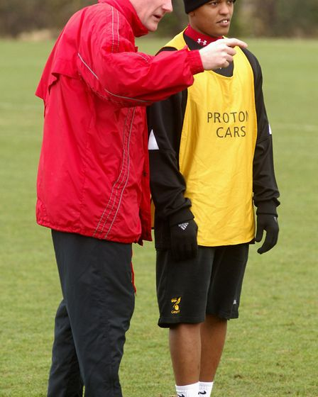 Robert Earnshaw with manager Nigel Worthington in training, soon after he joined City Picture: Archa