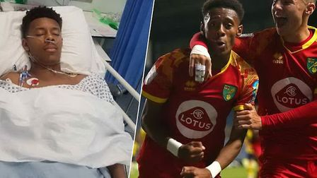 Norwich City striker Shae Hutchinson, who is in need of a kidney transplant. Pictued in hospital and