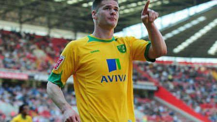 Michael Nelson celebrates his famous goal for Norwich City at Charlton in April 2010 Picture: Alex