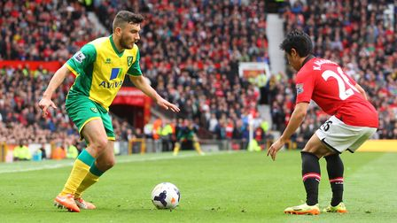 Robert Snodgrass up against Manchester United at Old Trafford in April 2014 Picture: Paul Chesterton