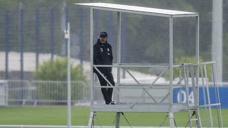 FC Schalke head coach David Wagner watches his players during a training session Picture: AP