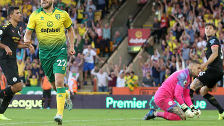 A goal for the ages. Teemu Pukki sunk Manchester City in a Carrow Road epic Picture: Paul Chesterton