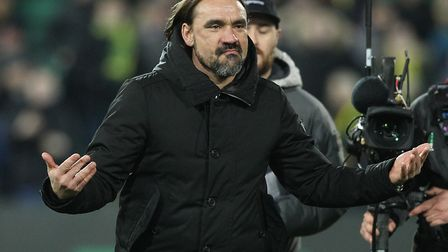 Norwich City head coach Daniel Farke, celebrating victory over Leicester in the Premier League at Ca