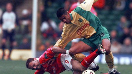 Jean-Yves de Blasiis in action for Norwich City against Nottingham Forest during a two year spell wh