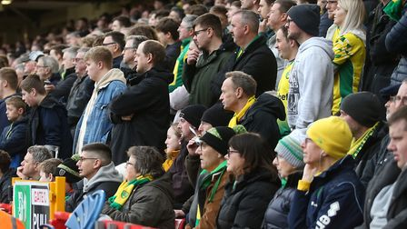 Norwich City fans at Sheffield United in the last game before the coronavirus shutdown for both club