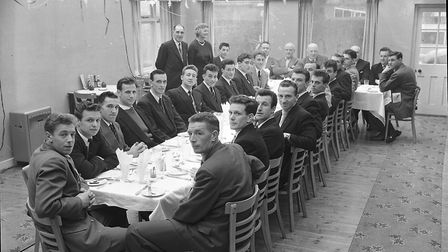 Norwich City players, including Johnny Gavin, Ron Ashman and Roy McCrohan at a Christmas dinner in 1