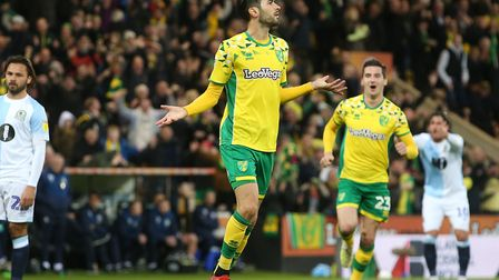 Mario Vrancic's spectacular strike against Blackburn sealed promotion for the Canaries Picture: Paul