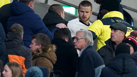 Tottenhan's Eric Dier tries to confront a supporter in the stands following the FA Cup fifth round m
