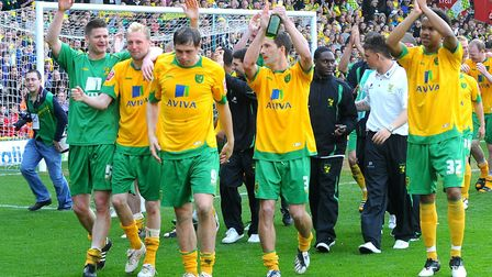 Norwich players on a lap of honour Picture: Archant