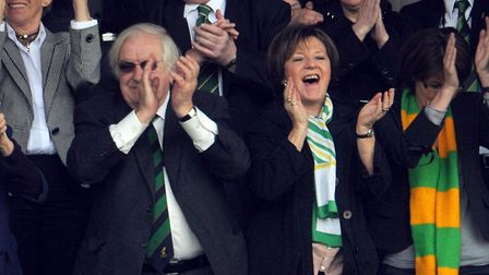 A sweet moment for the club's majority shareholders, Michael Wynn Jones and Delia Smith Picture: Arc