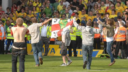 Norwich City fans join the party Picture: Archant