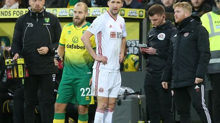 Chris Basham saw his red card overturned through VAR at Carrow Road Picture: Paul Chesterton/Focus I