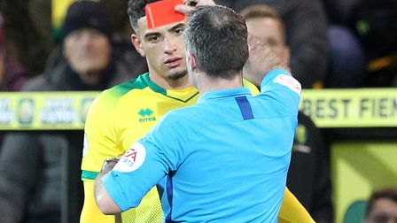 Norwich City Ben Godfrey was dismissed after the referee viewed video footage of his challenge on Bo