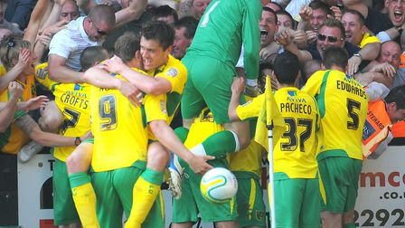 Players and fans celebrate Simeon Jackson's famous late winner against Derby in April, 2011 Picture: