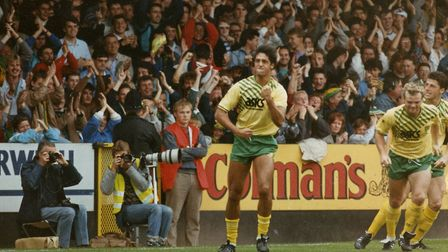 Robert Rosario celebrates his superb goal against Southampton in September, 1989 Picture: Archant