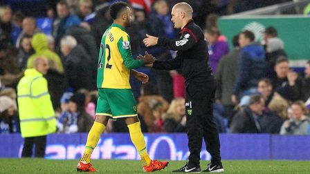 Nathan Redmond is consoled by Alex Neil at the end of the Capital One Cup match at Everton Picture: