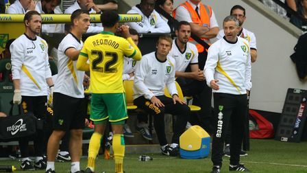 Norwich manager Neil Adams gives instructions to Nathan Redmond Picture: Paul Chesterton/Focus Image