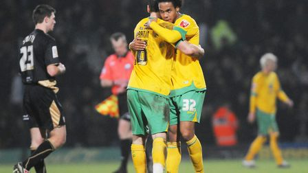 Chris Martin and Oli Johnson - scorer and provider respectively against Brentford Picture: Archant