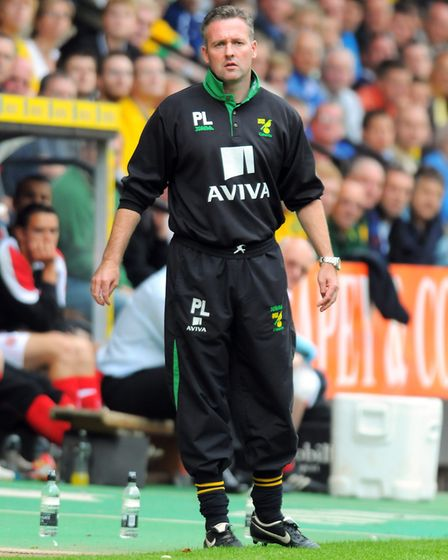 Paul Lambert patrolling the Carrow Road touchline Picture: Archant