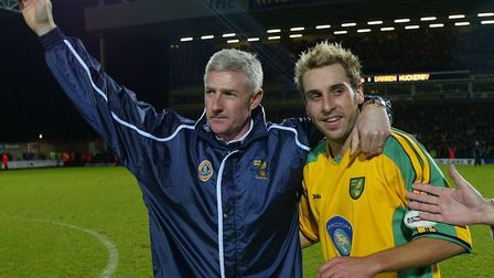 Nigel Worthington and Darren Huckerby after the player's final game of his loan spell... more was to