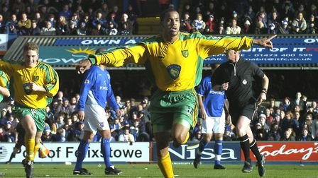 How's that for starters? Leon McKenzie celebrates his first goal at Ipswich Picture: Archant