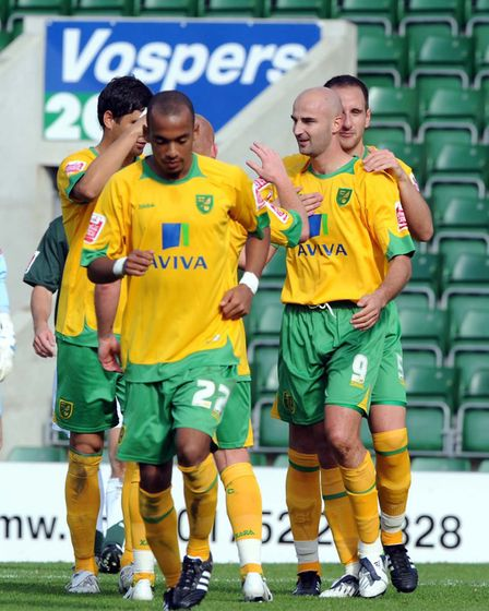 Antoine Sibierski, second right, celebrates his goal at Plymouth in September, 2008 Picture: Tony Ca