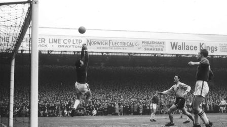 An iconic picture from an iconic game. Terry Allcock is denied by Gordon Banks in Norwich City's FA