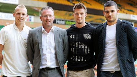 Paul Lambert with a hat-trick of new signings at Carrow Road - from left, Ritchie de Laet, Anthony P