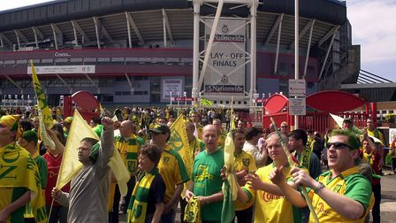 Canaries fans before the promotion play-off final at the Millennium Stadium in Cardiff Picture: Arch