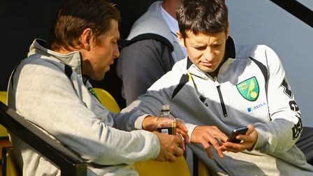 Grant Holt and Wes Hoolahan in conversation before a match at Carrow Road Picture: Paul Chesterton/F