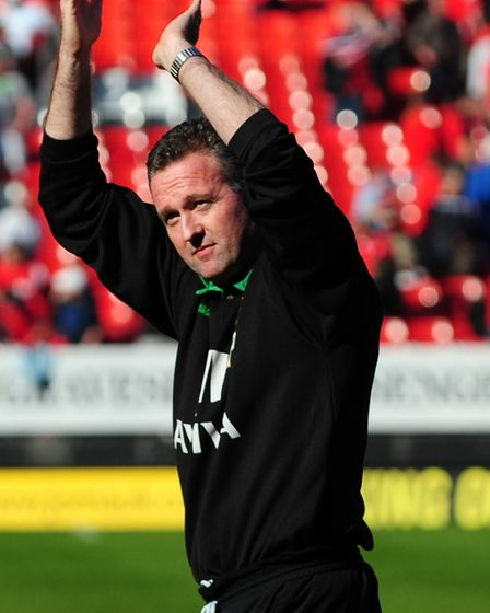 Paul Lambert acknowledges the travelling fans at The Valley Picture: Alex Broadway/Focus Images Ltd