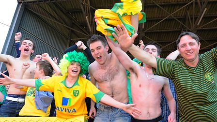 Celebration time for these Norwich City fans Picture: Alex Broadway/Focus Images Ltd