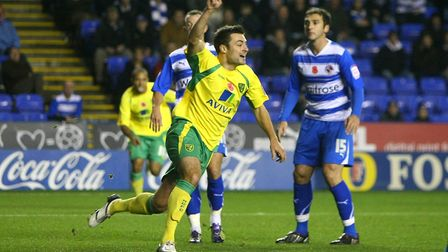 Reading - Saturday November 13th, 2010: Russell Martin of Norwich opens the scoring and celebrates d