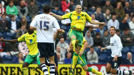 Preston - Saturday September 18th, 2010: Andrew Crofts of Norwich heads clear during the Npower Cham