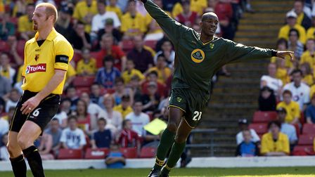 Damien Francis celebrates his opener at Watford in 2004 Picture: Archant