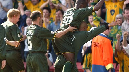 Leon McKenzie celebrates after scoring the winner at Watford in 2004 Picture: Archant