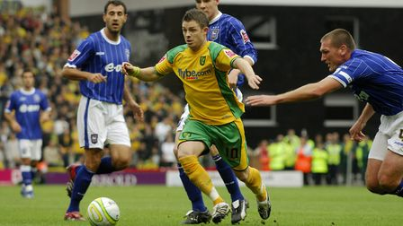 Jamie Cureton in action against Ipswich Town in 2007, his first season back at Norwich City Picture:
