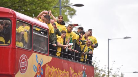 Action from the Norwich City Football Club promotion parade through Norwich. PICTURE: Jamie Honeywoo