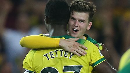 Happier times for Sam Byram, celebrating victory over Manchester City in September with City team-ma