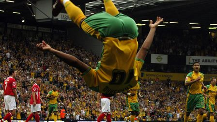 The trademark acrobatic celebration from Robert Earnshaw during a 5-1 win over Barnsley in August 20