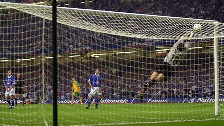 Birmingham goalkeeper Nico Vaesen at full stretch during the closing minutes of extra time Picture: