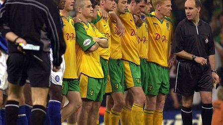 Norwich City players watch the penalty shoot-out Picture: Archant