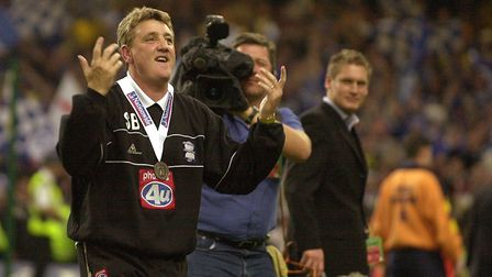 Steve Bruce celebrates as Birmingham beat Norwich City in the promotion play-off final Picture: Arch