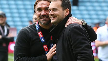 Sporting director Stuart Webber, right, celebrating Norwich City's title success in the Championship