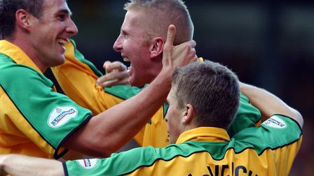 Malky Mackay with Iwan Roberts and Paul McVeigh - team unity was a huge factor for Norwich City Pict